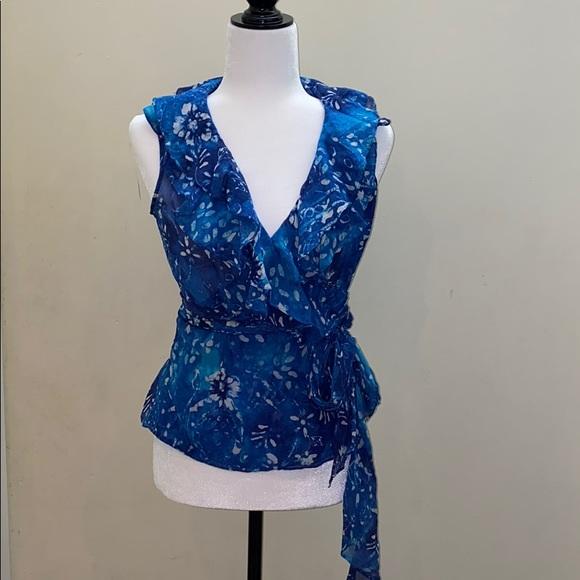 Ralph Lauren silk ruffle wrap around blouse top